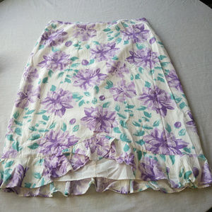 Emma James 10 Floral White Floral Ruffle Skirt
